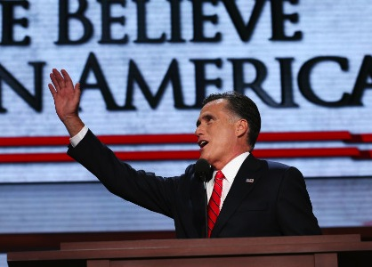 Romney addresses the crowd Thursday night