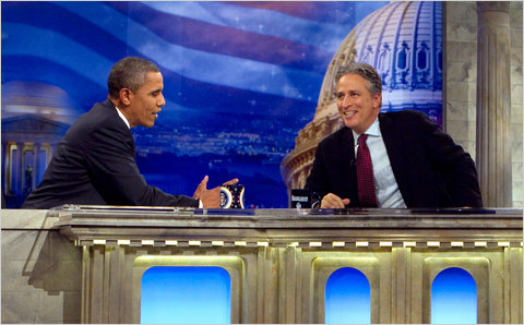 "Obama talks to Stewart on ""The Daily Show"""